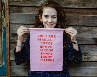 FEMINIST ART/ feminist wall hanging/ girl power art/feminist room decor/ the future is female/fierce girls wall hanging/feminist wall banner