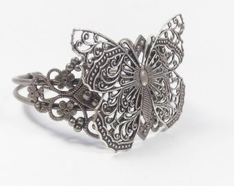 Butterfly Filigree Bracelet, Silver Butterfly Bracelet, Butterfly