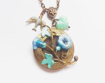 Floral Fantasy Locket in Brass, Brass Flower Locket