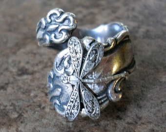 Dragonfly Spoon Ring, Silver Spoon Ring, Dragonfly, silver dragonfly, spoon ring,