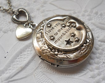 I Love You to the Moon and Back Locket in Silver, Moon and Stars Enchanted Locket in Silver-EXCLUSIVE DESIGN