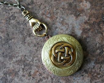 Irish Celtic Knot Vintage Style Locket, Brass Celtic Locket, Brass Claddagh Locket, celtic locket, celtic talisman, celtic, brass locket
