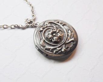 Flower Locket in Antiqued Silver, Flower Locket Exclusive Design by Enchanted Lockets