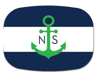 Personalized serving platter custom monogram melamine  Nautical Navy