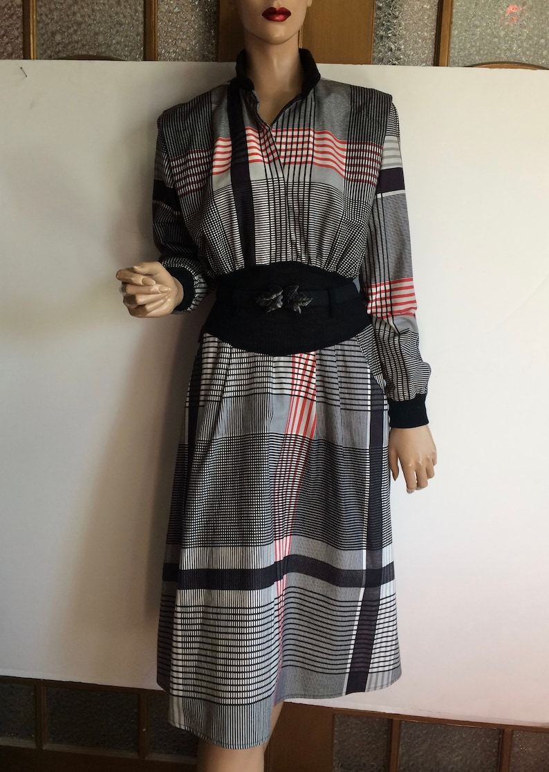 Black And White Plaid 80/'s Dress With Pockets