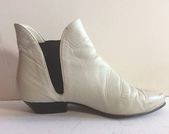White Leather Beatle Boots