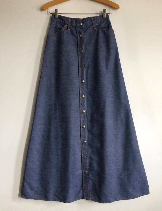 Vintage 70s Levis Button Down Denim Maxi Skirt