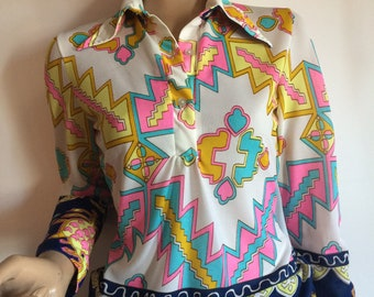 Vintage 60s Bright Print Long Sleeve Blouse Womens Size Small