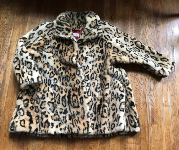 XL Leopard Print Faux Fur Coat