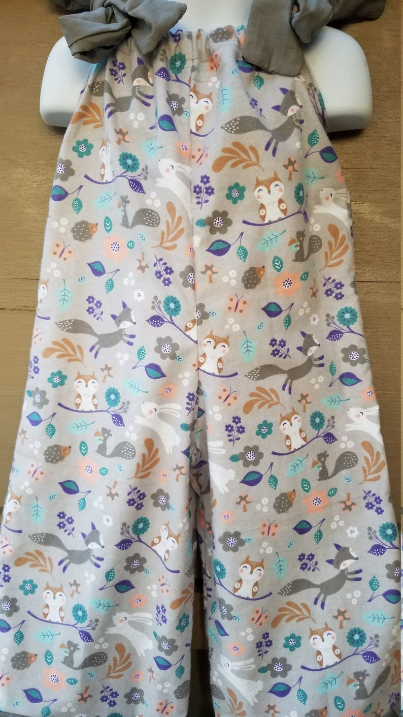 Size 3 Gray Woodland Friends Flannel Pants Romper READY to SHIP