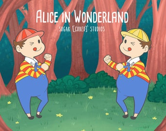 Tweedledee and Tweedledum Enamel Pin - Alice in Wonderland- Hard Enamel Pin and Removable Chains