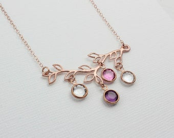 Crystal Birthstone Branch Charm Necklace. Mother-of-the-Bride Necklace, Rose Gold Wedding Bridal Jewelry for Mom or Grandmother