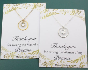 Eternity Crystal Birthstone Charm Necklace, Mother of the Bride Groom Necklace, Bridesmaid Gift, 24k vermeil Circle Link, Choice of Message