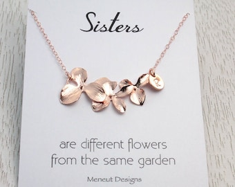 JUNE Special 20% off, Sisters Flower Necklace, Pink Gold Disc Charm Necklace, Rose Gold Initial Disc, Wedding Bridal Bridesmaid Gift,