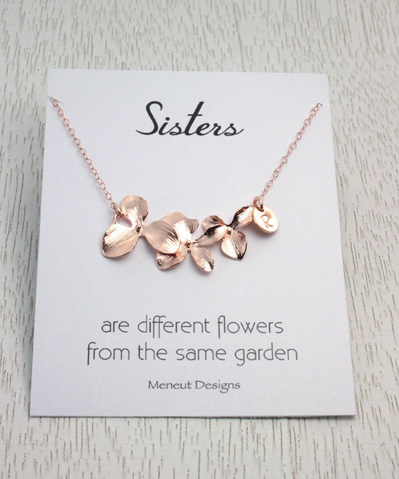 Sisters Flower Necklace  BEST SELER  Three Orchid Flower image 0