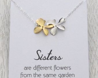 Sister's Gold Flower Charm Necklace, Wedding Bridal Gift Necklace, Silver and Gold Orchid Flower, Bridesmaid Gift, Maid of Honour Gift