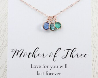 "Mother-of-Three Birthstone Necklace, Mothers Birthday Gift, Crystal Charm Necklace, Choice-of- Card: ""Family of ..."" or ""Mother of ... """