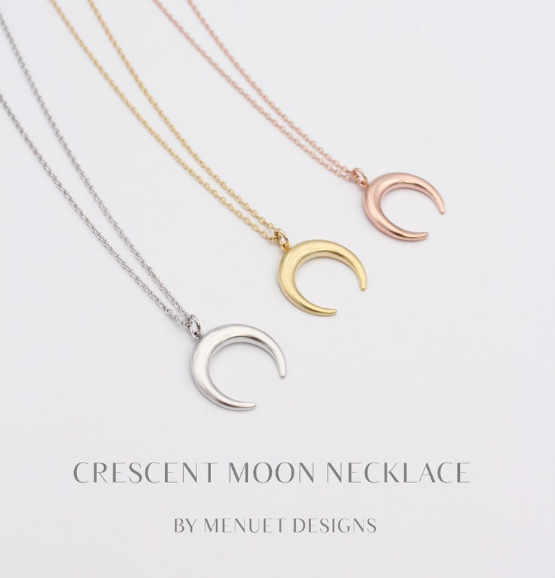 Moon Necklace  Dainty Moon Necklace  Gold Crescent Moon image 0