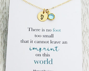 Condolence Miscarriage Gift, Baby Child Loss Gift, Foot Print Disc Charm Necklace, Crystal Birthstone Pendant, Personalized Baby Loss