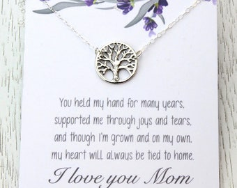 Mother-of-the-Bride Jewelry Gift, Family Tree of Life Charm Pendant, Choice of Message Card, Mother's Birthday Gift, Wedding Bridal Gift,