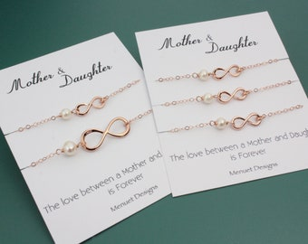 Rose Gold Infinity Pearl Bracelet Set, Mother-Daughter Jewelry Set, Wedding Mother-of-the-Bride Gift, Birthday for Mom, Gift from Daughter