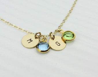 Personalized Crystal Birthstone Initial Necklace, Disc Pendant Necklace, Initial Disc Charm, Graduation Gift, Mothers and Sisters Gift