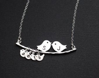 Silver Bird Necklace, Lovebird Family Initial Necklace, Mother-of-the-Bride Jewelry Gift, Summer Gift Ideas, Mother's Birthday Gift