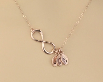 Personalized  Rose Gold Infinity Necklace | Initial Charm Necklace | Rose Gold Filled Chain | Figure 8 Initial  Necklace