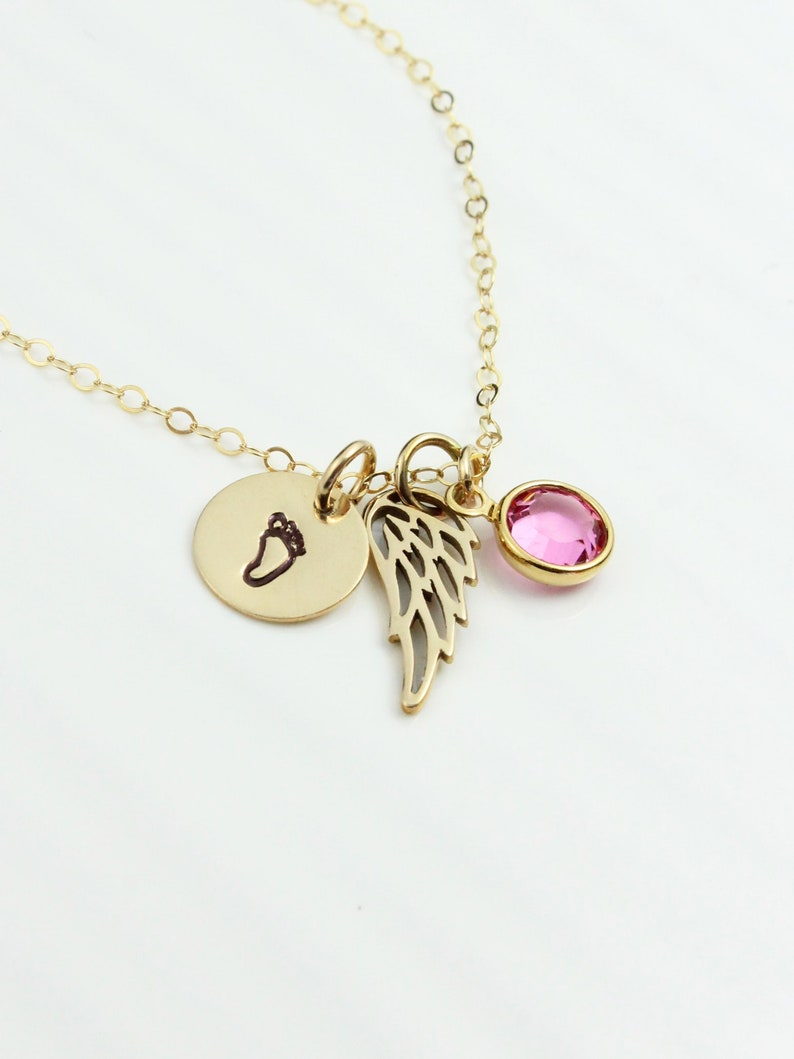 Child Foot Disc Miscarriage Necklace Angel Wing Baby Footprint Necklace Infant Loss Condolence Gift Birthstone Necklace