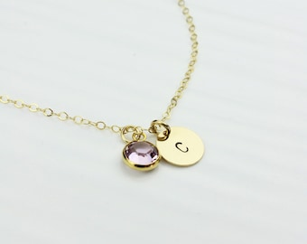 Crystal Birthstone Hand-Stamped Charm Necklace, Personalized 14k Gold filled Initial Disc Necklace, Graduation Gift For Sisters and Daughter