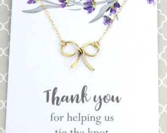 "Wedding Thank You Gift, Ribbon Bow Necklace in Silver or Gold, Gift, ""Thank You for Helping Us Tie the Knot"", Bridesmaid Thank You"