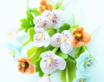 Miniature Pansy Polymer Clay Flowers Supplies for Dollhouse set of 12 stems with leaves