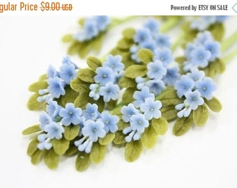 Miniature Polymer Clay Flowers Supplies Forget Me Not 6 bunches
