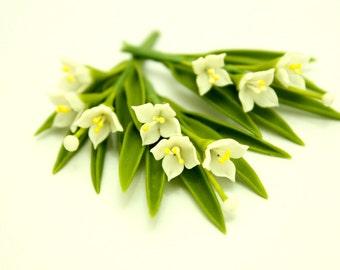 Miniature Polymer Clay Flowers Supplies Syringa Mock Orange 3 bunches