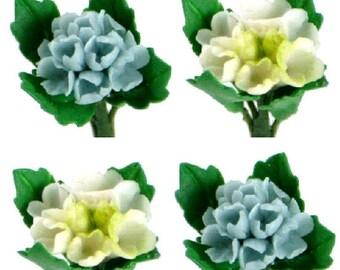 Miniature Polymer Clay Flowers Supplies Blue & White Hydrangea 4 stems