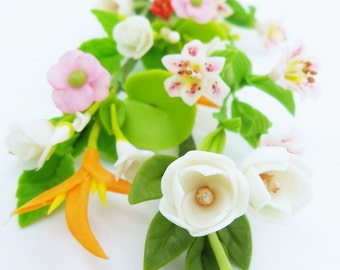 Miniature Polymer Clay Supplies Handmade Sweet Magnolia, set of 8 Bunches