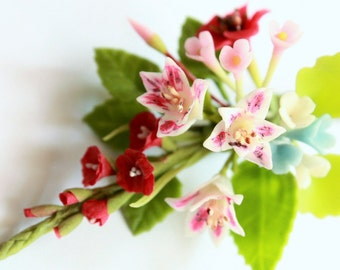 Miniature Polymer Clay Supplies Sweet Romantic Flowers Bunch