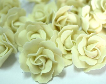 2.5 cm Miniature Roses Handcrafted Clay with Pearl bead, 10 pcs.