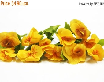 Miniature Polymer Clay Flowers Supplies Golden Pansy with Leaves 6 stems