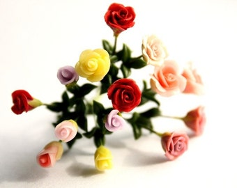 Miniature Rose Polymer Clay Flowers Supplies, 15 stems assorted