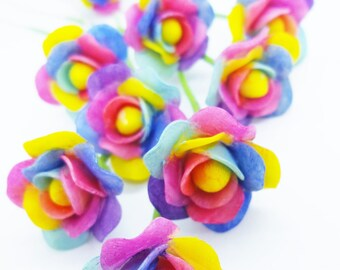 10 Rainbow Roses Handcrafted Miniature Polymer Clay Flowers Christmas Gifts