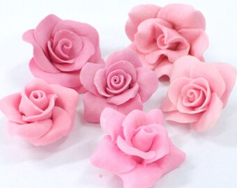 Miniature Roses Polymer Clay Flowers & Beads Supplies 20 pcs