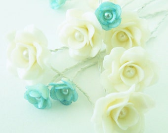 Miniature Polymer Clay Roses Handmade Flowers Supplies for Beaded Jewelry 12 pcs., assorted