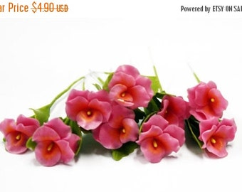 Miniature Polymer Clay Flowers Supplies Hot Pink Pansy with Leaves 6 stems