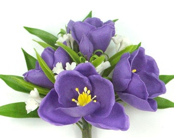 Polymer Clay Supplies Pasque Flowers for Bouquet and Handmade Gifts