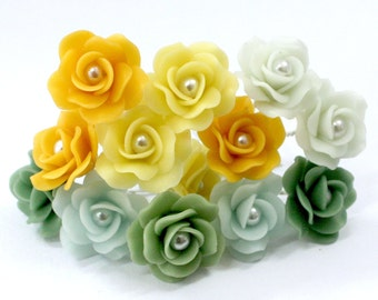 Miniature Polymer Clay Roses Handcrafted Supplies 12 pcs