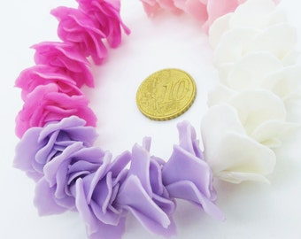 Miniature Polymer Clay Roses Handcrafted Flowers Beads, 12 pcs.