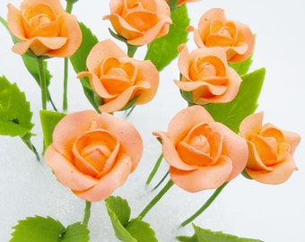 Miniature Roses Polymer Clay Flowers Supplies for Handmade Gifts, 24 stems
