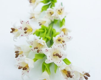 Blossom White Virgin Lily with leaves, Miniature Polymer Clay Flowers, 12 stems