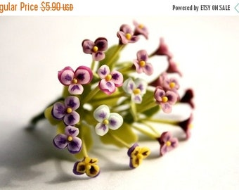 Miniature Pansy Polymer Clay Flowers Supplies for Dollhouse set of 12 stems with leaves, assorted